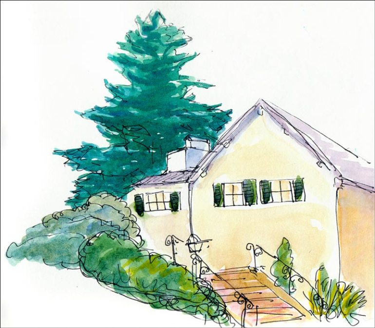 Spruce Street Sketchcrawl #4, Ink & watercolor