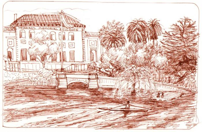 Lake Merritt View, Copic Sepia Multiliner