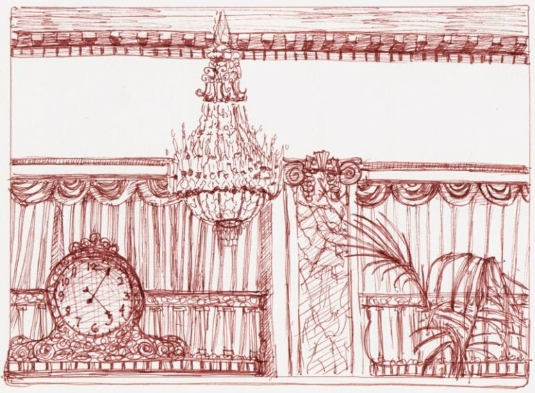 Palace Hotel Garden Court detail, Copic Multiliner