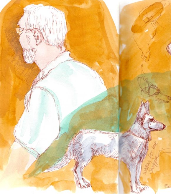 Waiting guy, waiting dog, ink and gouache