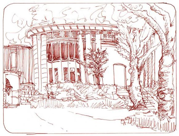 North Berkeley Fire Station, copic sepia ink