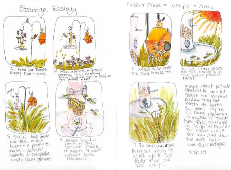Weird Ecology, ink & watercolor in sketchbook