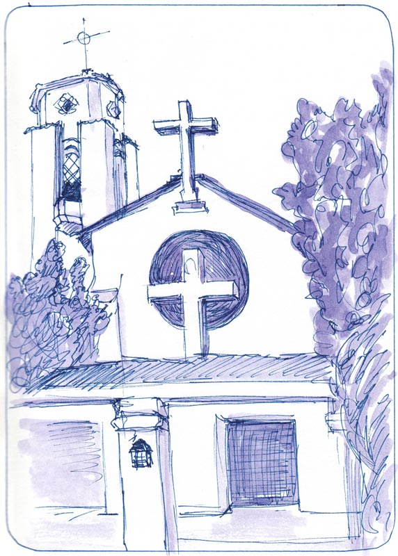 St. Jeromes Church, Ink & Watercolor
