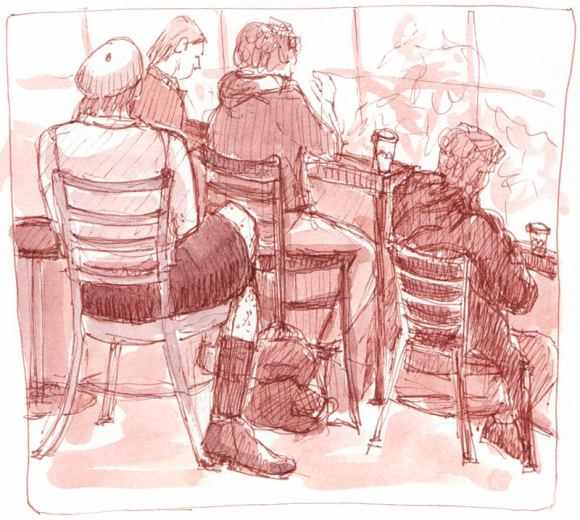 Peets Coffee Drinkers, Ink & watercolor