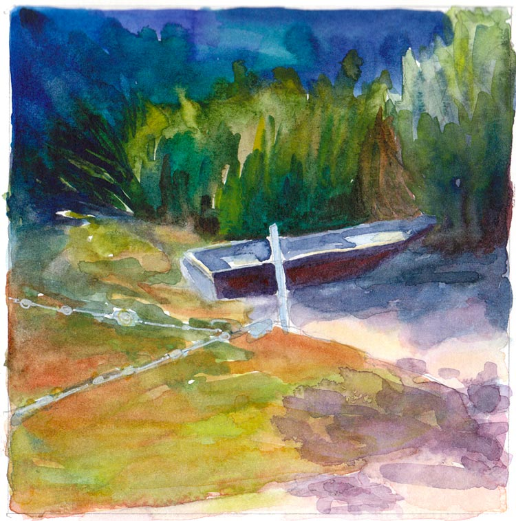 Lake Anza Row Boat, watercolor