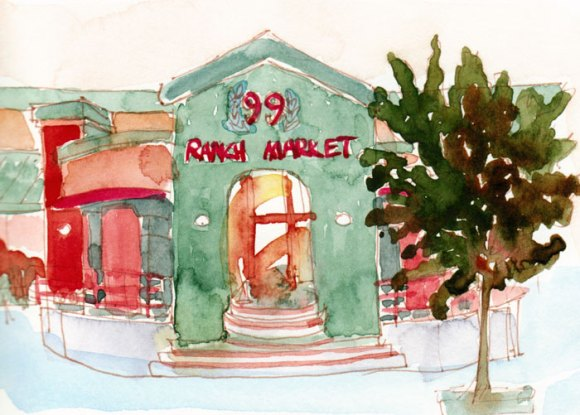 Ranch 99 Market, Ink and watercolor