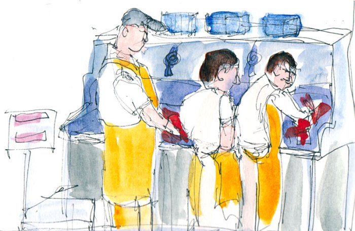 Fishmongers, Ink and watercolor