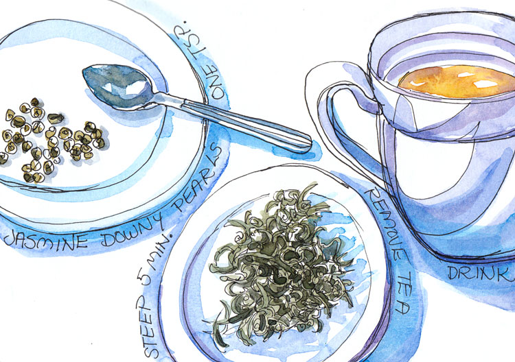 Downy Pearls Jasmine Tea, ink and watercolor