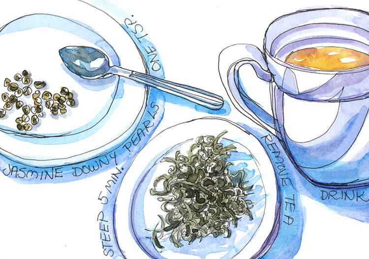 Downy Pearls Jasmine Tea, ink and watercolor