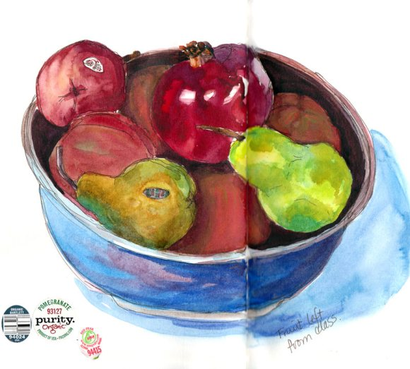 Fruit bowl, ink, watercolor & gouache