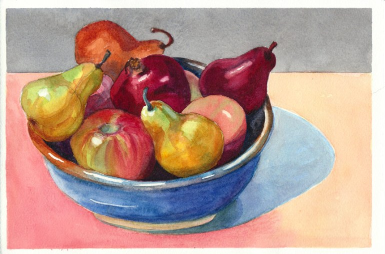 """Better Bowl of Fruit, Watercolor on paper, 7"""" x 10.5"""""""