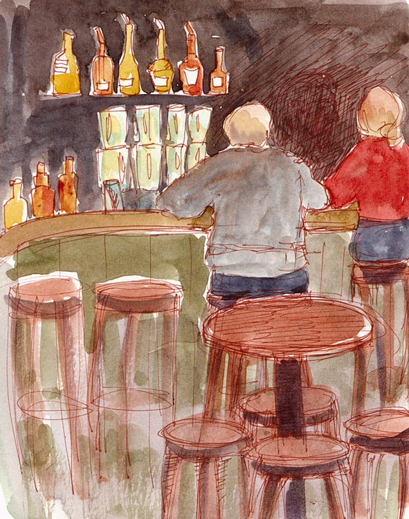 The Bar at Albany Bowl, ink and watercolor
