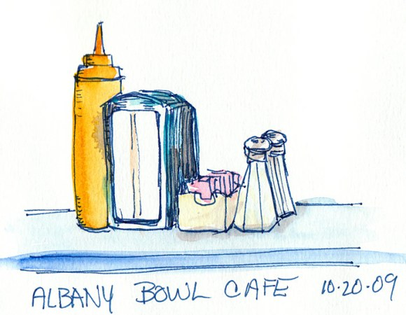 Condiments at Albany Bowl Cafe, ink & watercolor