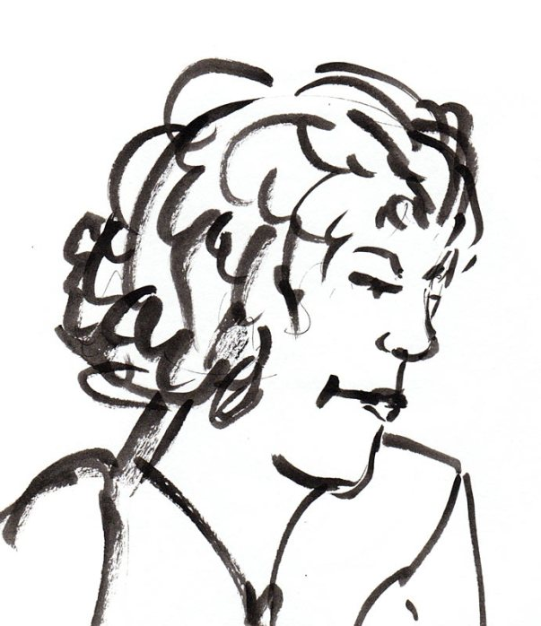 Judith, ink in Niji waterbrush
