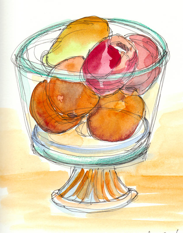 Sketching Fruit with Mariah after Tacos