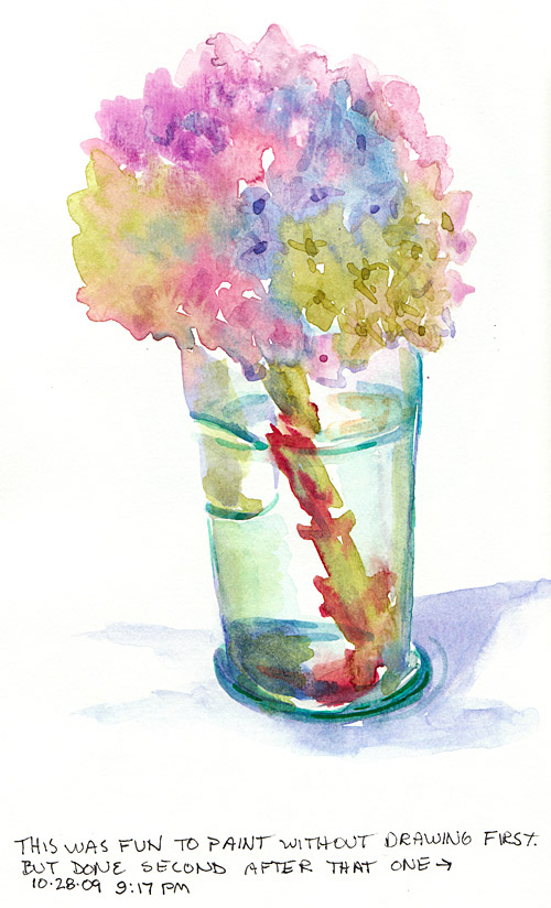 Hydrangea in Cow Glass #2, watercolor