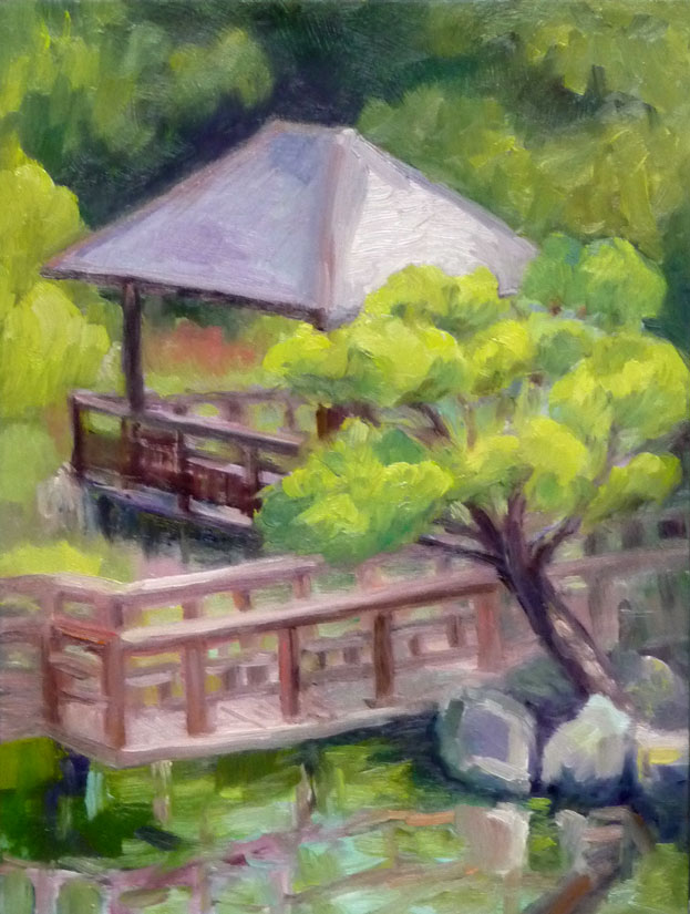 Hayward Japanese Garden, oil on Gessobord, 12x9""