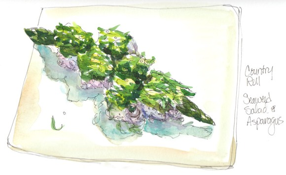 Country Roll Sushi (seaweed salad & asparagus); Ink and watercolor