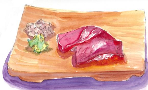 Maguro sushi (tuna), ink and watercolor