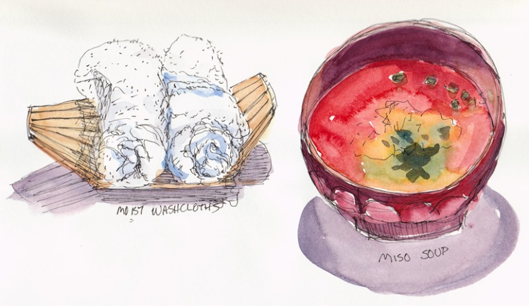 Miso Soup & Washcloths, ink and watercolor