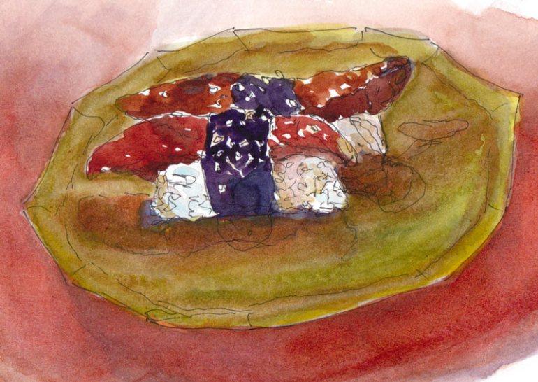 Unagi sushi (grilled eel), ink and watercolor