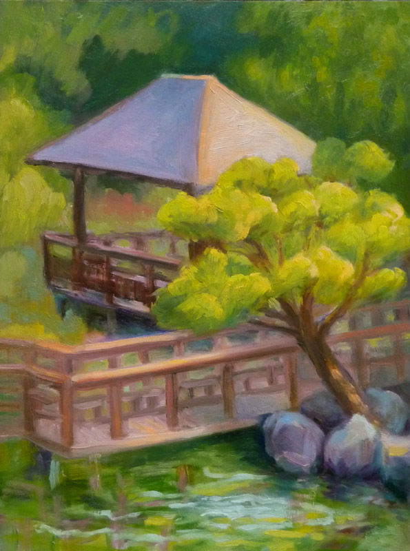 Hayward Japanese Garden (revised), oil on panel, 12x9""