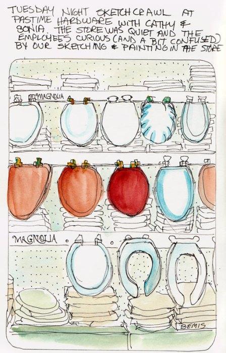 Toilet seat display, ink & watercolor