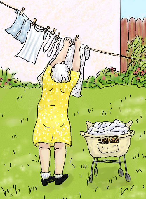 Grandma hanging laundry with her laundry cart, Digital sketch.