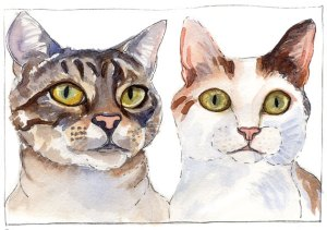 Busby and Fiona, ink and watercolor (Personal collection)