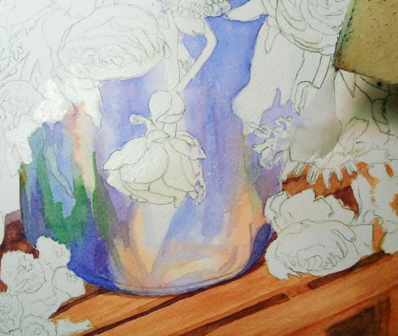 Pitcher painted, removing masking fluid