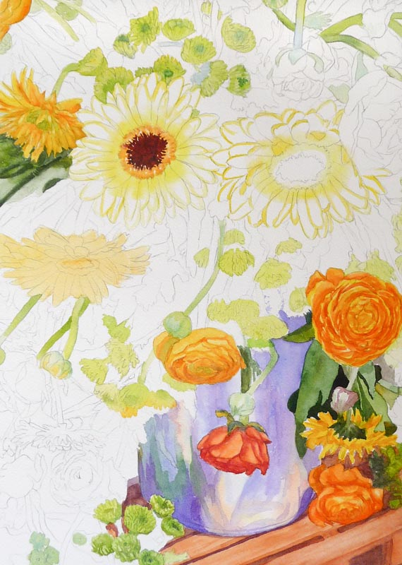 Yellow underpainting of some flowers