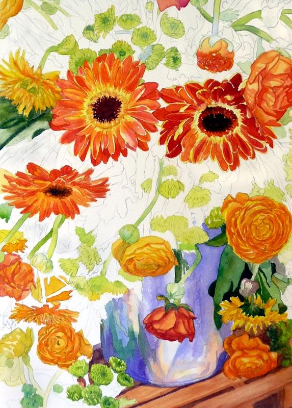 Orange flowers completed