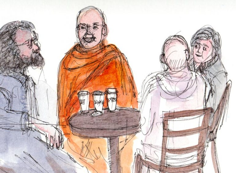 Monks at Peets Coffee, ink & watercolor