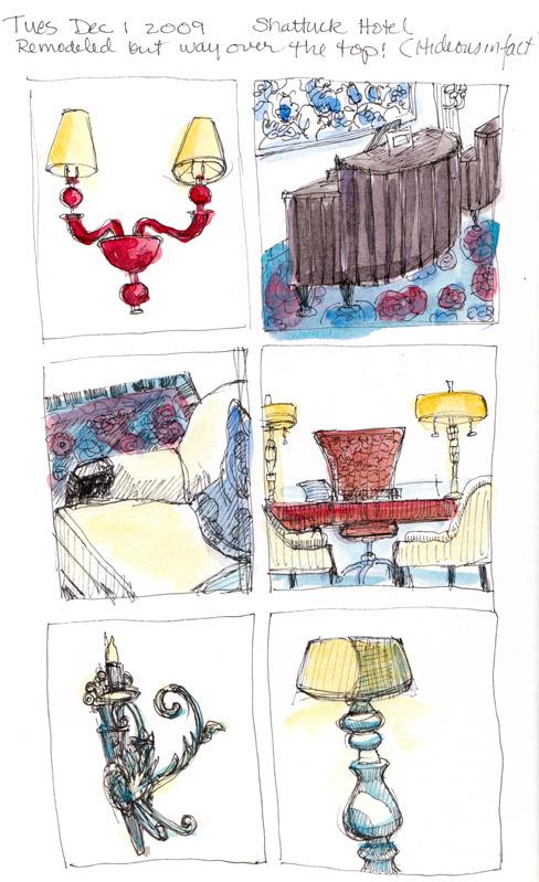 Shattuck Plaza Hotel details, ink & watercolor