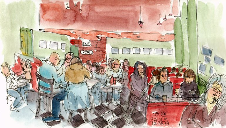 Saul's Diner, Ink & watercolor