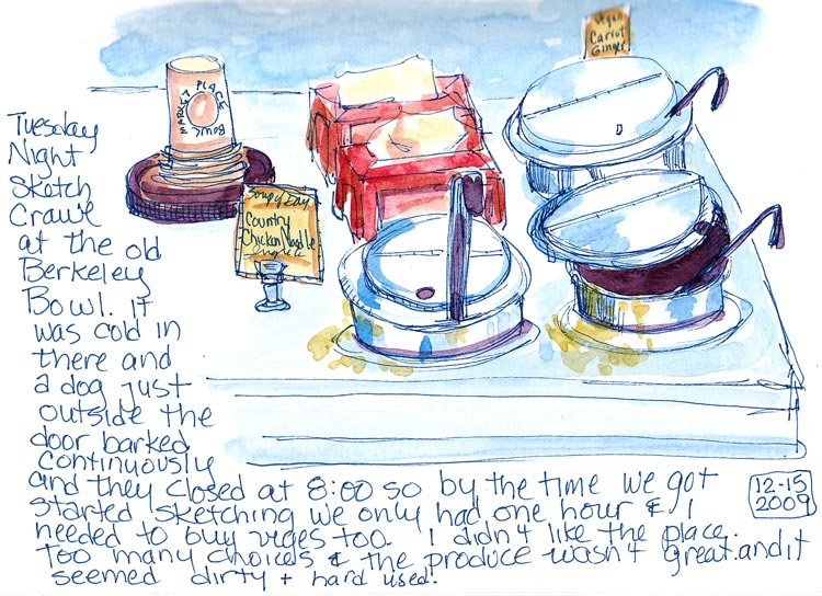 Berkeley Bowl Soup Counter, Ink & watercolor