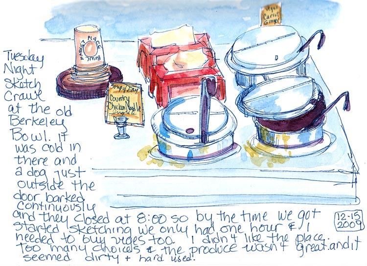 Berkeley Bowl Soup Counter, Ink & watercolor