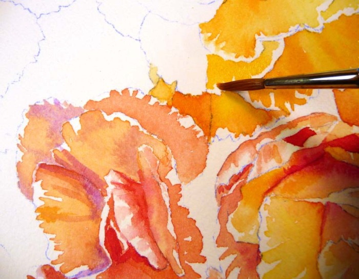 Painting the first layer of yellows, oranges and reds
