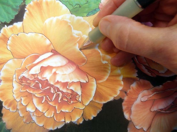 Tracing the enlarged photo onto watercolor paper using blue Saral Transfer Paper