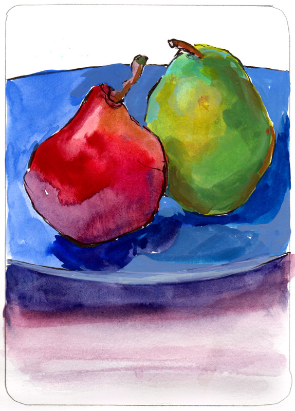 Pears on a Blue Plate, ink and gouache