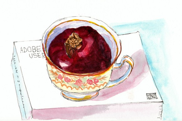 Pomegranate in a Teacup, ink & watercolor