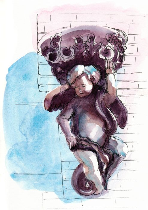 Chubby Cherub on Harrison, watercolor
