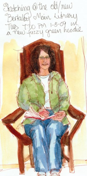 Me sketching in funny chair