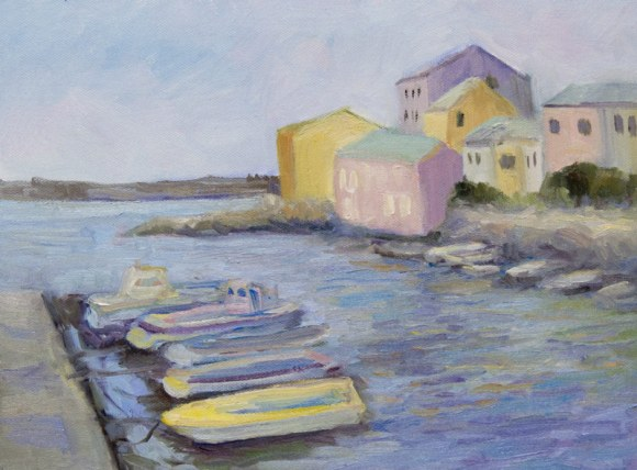 Centuri Port, Corsica, Oil on canvas, 9x12""