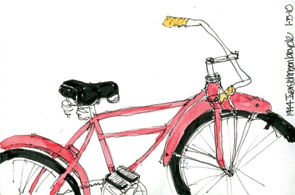 Cathy's sketch of bike guy's ride