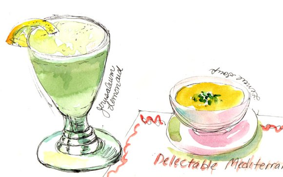 Jerusalem Lemonade and Lentil Soup, ink & watercolor