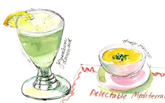 Jerusalem Lemonade and Lentil Soup, ink & watercolor