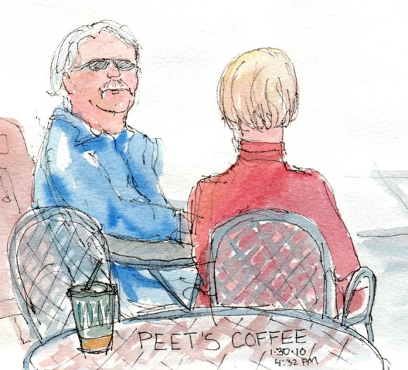 Peets people, ink & watercolor