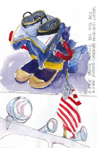 Fire, Flag, Boots Ready, ink & watercolor