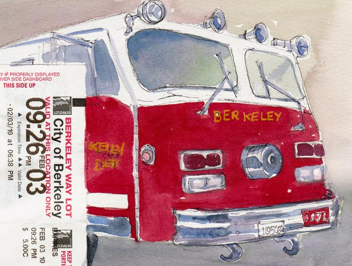 Fire Truck and Parking Receipt, ink & watercolor